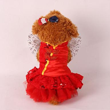 كلب ملابس السهرة للرجال ملابس الكلاب الزفاف رأس السنة ترتر أحمر زهري كوستيوم للحيوانات الأليفة