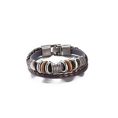 Heren Dames Leder Lederen armbanden - Vintage Cirkelvorm Bruin Armbanden Voor Dagelijks gebruik