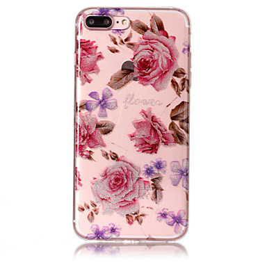 Case voor apple iphone 7 plus 7 telefoon hoesje tpu materiaal imd proces rozen patroon hd flash poeder telefoon hoesje 6s plus 6 plus 6s 6