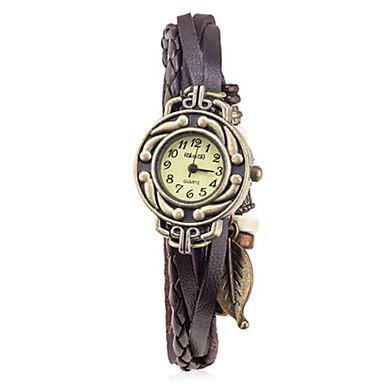 Dames Modieus horloge Kwarts Leer Band Zwart Blauw Rood Bruin