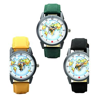 Herrn Quartz Armbanduhr Chinesisch / PU Band Freizeit Elegant Weltkarte Muster Modisch Schwarz Braun Grün