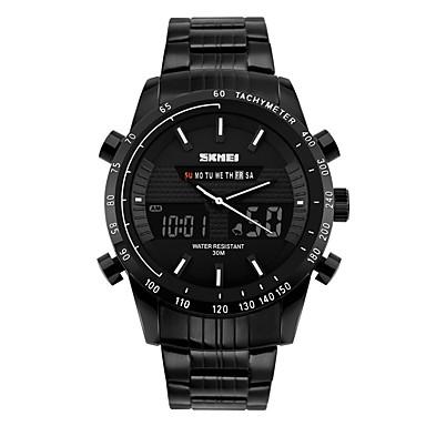 SKMEI Bărbați Ceas La Modă Ceas de Mână Ceas digital Piloane de Menținut Carnea Calendar Rezistent la Apă Mare Dial Oțel inoxidabil Bandă