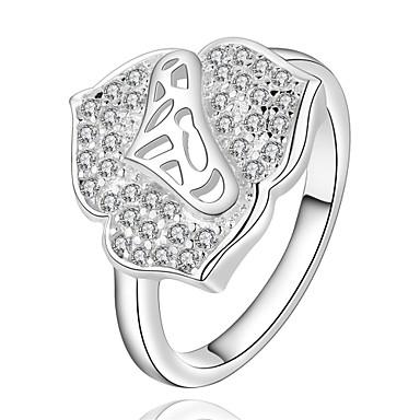 Dames Ring Kubieke Zirkonia Zilver Zirkonia Koper Verzilverd Geometrische vorm epäsäännöllinen Gepersonaliseerde Luxe Meetkundig Uniek