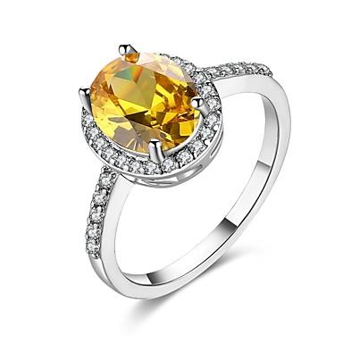 Dames Ring Kubieke Zirkonia Goud Zilver Zirkonia Koper Verzilverd Verguld 18K Goud Geometrische vorm epäsäännöllinen Gepersonaliseerde