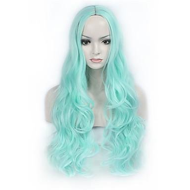 Synthetische Perücken Wellen Blau Damen Kappenlos Natürliche Perücke Lang Synthetische Haare