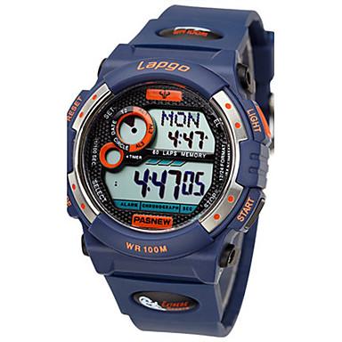 للرجال ساعة رياضية ساعات فاشن رقمي مقاوم للماء مطاط فرقة أسود الأبيض أزرق