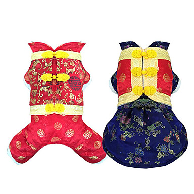 Hund Kostüme Hundekleidung Neujahr Stickerei Dunkelblau Rot Kostüm Für Haustiere
