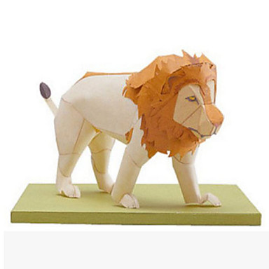 3D-puzzels Bouwplaat Papierkunst Modelbouwsets Vierkant Leeuw 3D Dieren Simulatie DHZ Klassiek Tiener Unisex Geschenk