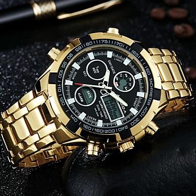 10fe72d5102 Homens Relógio Casual Relógio de Moda Relógio de Pulso Quartzo Aço  Inoxidável Prata   Dourada Calendário