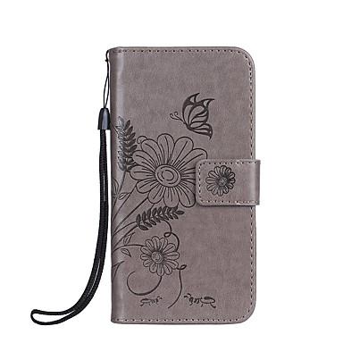 Hoesje voor huawei p8 lite p8 lite 2017 hoesje kaartje kaarthouder met tribune flip reliëf full body case vlinder bloem hard pu leer