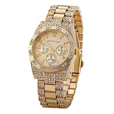 Damen Simulierter Diamant Uhr Einzigartige kreative Uhr Modeuhr Chinesisch Quartz Imitation Diamant Metall Band Glanz Gold Rotgold