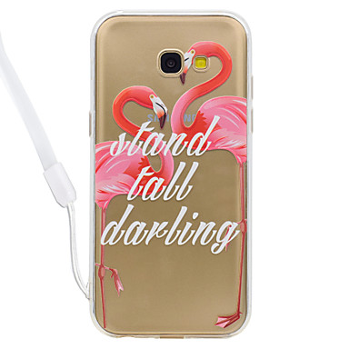 hoesje Voor Samsung Galaxy A5(2017) A3(2017) Transparant Patroon Achterkantje Transparant Flamingo Hard Acryl voor A3 (2017) A5 (2017)