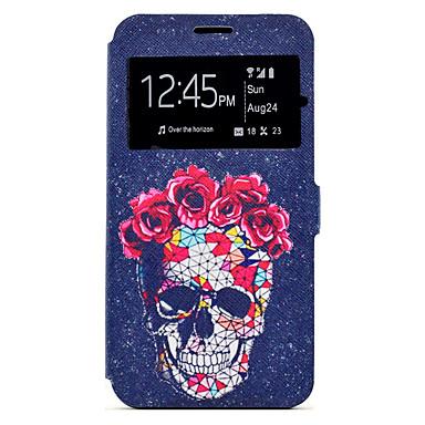 Hülle Für Samsung Galaxy A5(2017) A3(2017) Kreditkartenfächer mit Halterung Muster Ganzkörper-Gehäuse Totenkopf Motiv Hart PU-Leder für