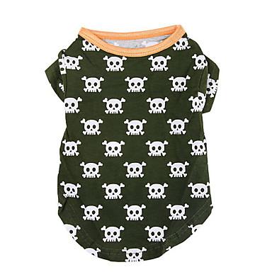 كلب T-skjorte ملابس الكلاب جماجم أخضر الصيد تيريليني كوستيوم للحيوانات الأليفة كاجوال/يومي