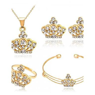 Pentru femei Ștras Crown Shape Set bijuterii 1 Colier / 1 Pereche de Cercei - Euramerican / Modă Crown Shape Auriu Seturi de bijuterii