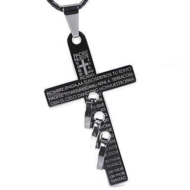 Herr Hänge Halsband Uttalande Halsband Rostfritt stål Titanstål Kors  Statement damer Personlig Geometrisk Svart Halsband Smycken 46fdd583d815e