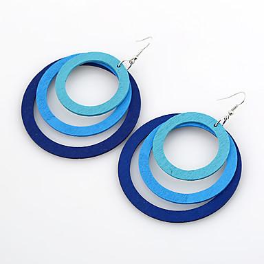Pentru femei Cercei Dangle Bijuterii Strat dublu Euramerican stil minimalist Lemn Rotund Bijuterii Pentru Casual Ρούχα για Ύπαιθρο