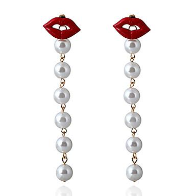 Pentru femei Cercei Picătură Imitație de Perle Personalizat Cute Stil Aliaj Bijuterii Alb Petrecere Evenimente / Petrecere Costum de