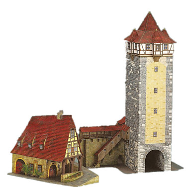 Puzzle 3D Lucru Manual Din Hârtie Jucarii Castel Turn Moara de vant Clădire celebru Arhitectură 3D Reparații Hârtie Rigidă pentru