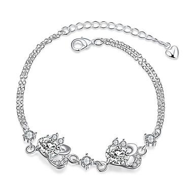 Damen Mädchen Ketten- & Glieder-Armbänder Kristall Retro Freundschaft Modisch versilbert Blume Schmuck Weihnachts Geschenke Hochzeit