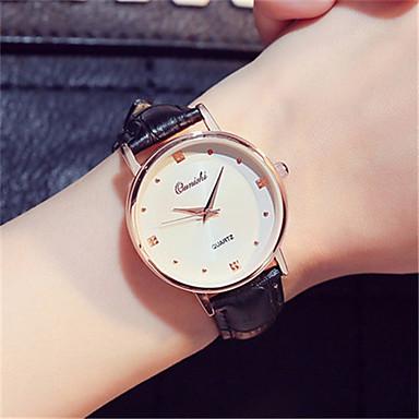 Damen Modeuhr Armbanduhr Quartz Leder Band Schwarz Weiß Grau