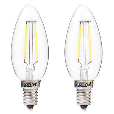 BRELONG® 2pcs 2W 200 lm E14 مصابيحLED C35 2 الأضواء COB ديكور أبيض دافئ أبيض أس 220-240V