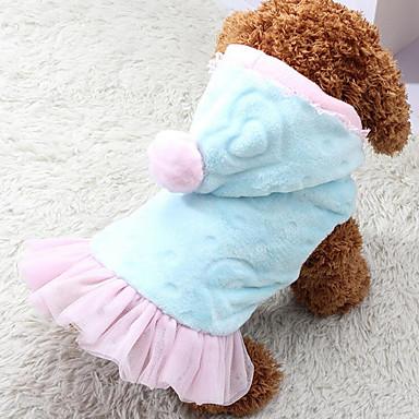 Hund Kapuzenshirts Kleider Hundekleidung Warm Lässig/Alltäglich Prinzessin Herzen Blau Rosa Kostüm Für Haustiere