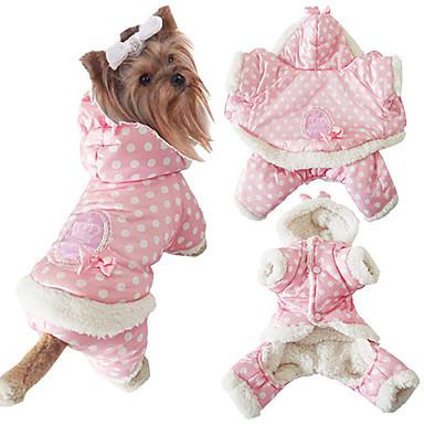Câine Salopete Îmbrăcăminte Câini Casul/Zilnic Keep Warm Buline Bej Roz Costume Pentru animale de companie