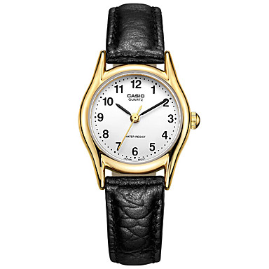 Casio للمرأة ساعات فاشن ساعة المعصم ساعة كاجوال ياباني كوارتز مقاوم للماء جلد فرقة سحر عادية أنيقة أسود