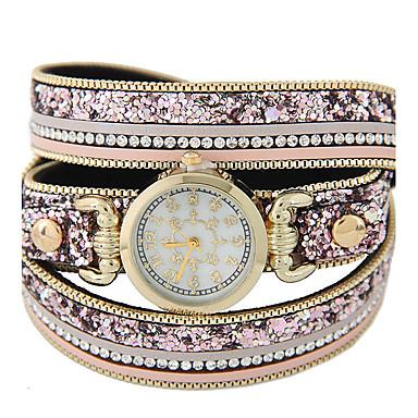 Damen Quartz Armband-Uhr Schlussverkauf Leder Band Glanz Modisch Schwarz Braun Rosa