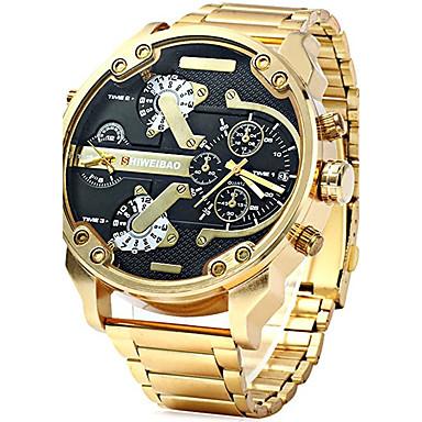 Недорогие Часы на металлическом ремешке-Муж. Армейские часы золотые часы Авиационные часы Нержавеющая сталь Черный / Золотистый Календарь Творчество С двумя часовыми поясами Аналоговый Кулоны Роскошь На каждый день Мода - / Один год