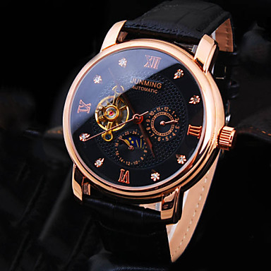 Men's Wrist Watch Mechanical Watch Automatic self-winding 30 m Water Resistant / Water Proof Leather Band Analog Luxury Sparkle Black / Brown - Black / White Black Brown / White / Stainless Steel