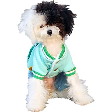 كلب حللا ملابس الكلاب كاجوال/يومي حرف وعدد أصفر أخضر