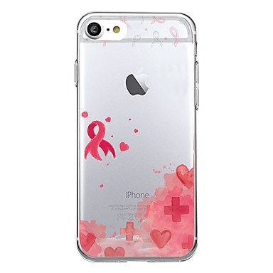 Pentru iphone 7plus caz acoperă transparent model spate acoperă inima geometric model ajutoare panglică roșu moale tpu pentru iphone 7