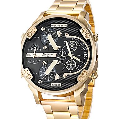 levne Pánské-Pánské Náramkové hodinky Velkoformátové Nerez Černá / Zlatá Kalendář kreativita Hodinky s dvojitým časem Analogové Přívěšky Luxus Klasické Na běžné nošení Skládaný - Růžové zlato Černá / Stříbrn