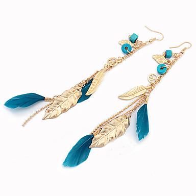 Pentru femei Cercei Picătură Ciucure Vintage Boem Cute Stil Modă Aliaj Leaf Shape Pană Bijuterii Negru Bej Maro Albastru Zilnic Casual