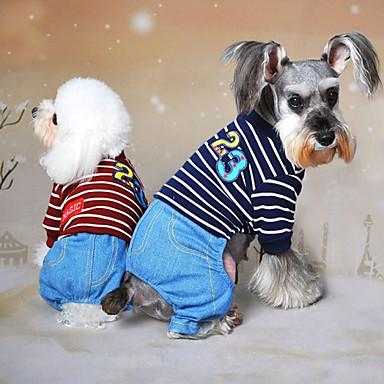 Σκύλος Φόρμες Ρούχα για σκύλους Τζιν Γκρίζο Κόκκινο Μπλε Βαμβάκι Στολές Για κατοικίδια Ανδρικά Γυναικεία καουμπόη Μοντέρνα