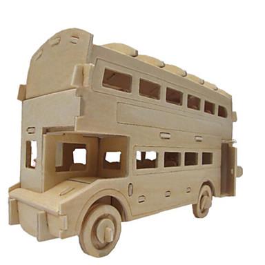 قطع تركيب3D تركيب الخشب نموذج ألعاب بناء مشهور بيت حافلة معمارية 3D خشب الخشب الطبيعي للجنسين الفتيان قطع