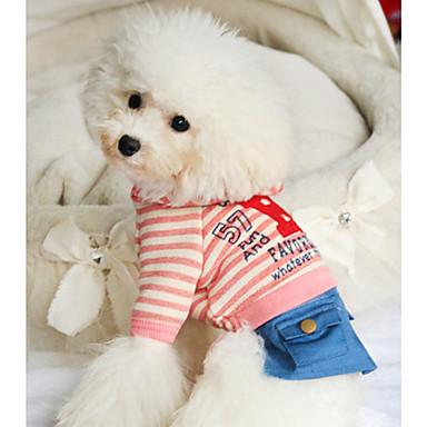 Câine Salopete Îmbrăcăminte Câini Casul/Zilnic Dungi Albastru Închis Roz Costume Pentru animale de companie