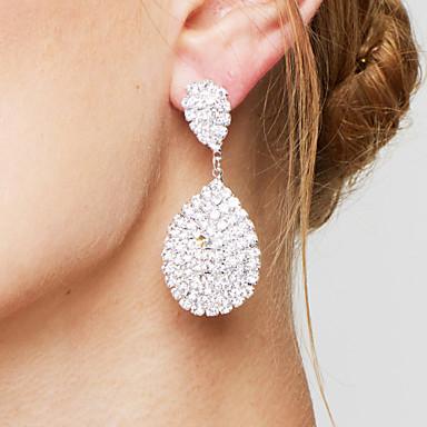 Pentru femei Transparent Diamant sintetic Cercei Picătură Pară pava Picătură femei Lux Elegant de Mireasă Bling bling Argilă cercei Bijuterii Alb Pentru Nuntă Petrecere Aniversare Cadou Zilnic