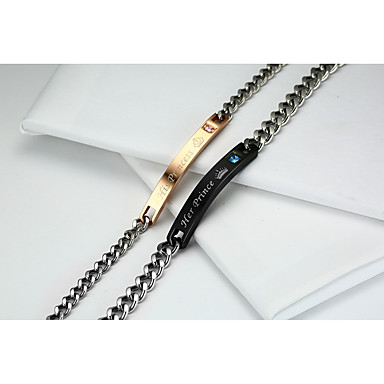 Heren Dames Armbanden met ketting en sluiting Zirkonia Liefde Modieus leuke Style Titanium Staal Goud Rose Cirkelvorm Sieraden Voor