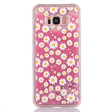 Hülle Für Samsung Galaxy S8 Plus S8 Mit Flüssigkeit befüllt Transparent Muster Rückseitenabdeckung Glänzender Schein Blume Weich TPU für
