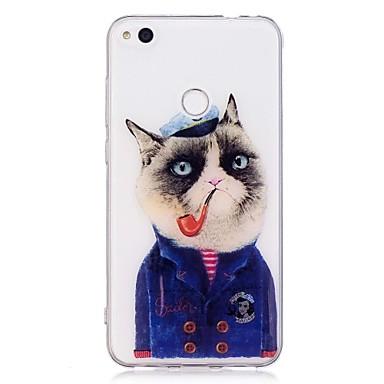 Caz pentru huawei p10 lite p8 lite (2017) model pisică transparent transparent moale tpu cover pentru huawei p10