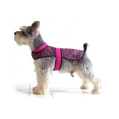 كلب أربطة سترة ملابس الكلاب كاجوال/يومي مخطط أبيض فوشيا أزرق كوستيوم للحيوانات الأليفة