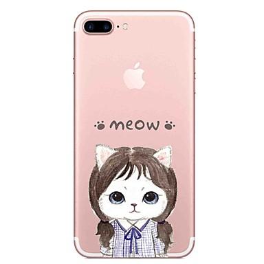 غطاء من أجل Apple شفاف نموذج غطاء خلفي قطة جملة / كلمة ناعم TPU إلى فون 7 زائد فون 7 iPhone 6s Plus iPhone 6 Plus iPhone 6s أيفون 6