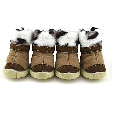 كلب أحذية و جزم كاجوال/يومي الدفء جزم الثلج أسود غير لامع أسود بني زهري للحيوانات الأليفة