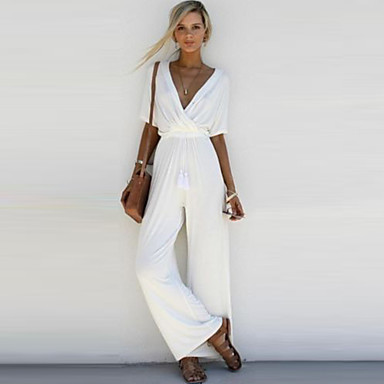 cheap Jumpsuits & Rompers-Women's Wide Leg Basic V Neck White Black Blushing Pink Jumpsuit, Solid Colored M L XL High Rise Half Sleeve Spring Summer