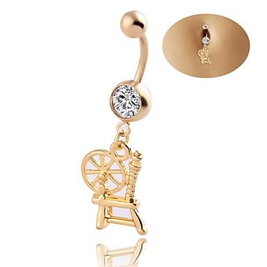 Pentru femei Bijuterii de corp Navel & Bell Button Rings Geometric bijuterii de lux Chrismas Clasic Elegant Zirconiu Ștras Oțel titan