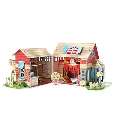 قطع تركيب3D تركيب بيت اللعبة نموذج الورق بناء مشهور معمارية 3D الخشب الطبيعي العرائس للأطفال فتيات للجنسين هدية