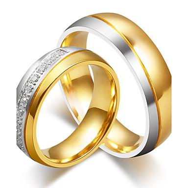 Pentru cupluri Zirconiu Cubic Inele Cuplu - Rotund Elegant / Modă Auriu Inel Pentru Nuntă / Logodnă / Ceremonie